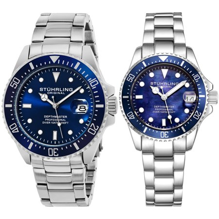 His & Hers Japanese Quartz Divers Watch Set 10 ATM Water Resistant