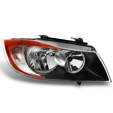 E90 Sedan - Fit 06-08 BMW 3 Series E90 Sedan Halogen Black Passenger Replacement Headlight