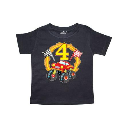 Monster Truck 4th birthday Toddler T-Shirt - Monster Truck Birthday