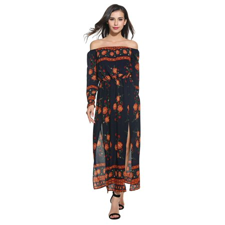 370f273db78f Women Sexy Long Sleeve Floral Print Off Shoulder Pullover Maxi Dress  PAGACAT - Walmart.com