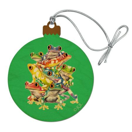 Tropical Rainforest Tree Frog Balancing Act Wood Christmas Tree Holiday Ornament