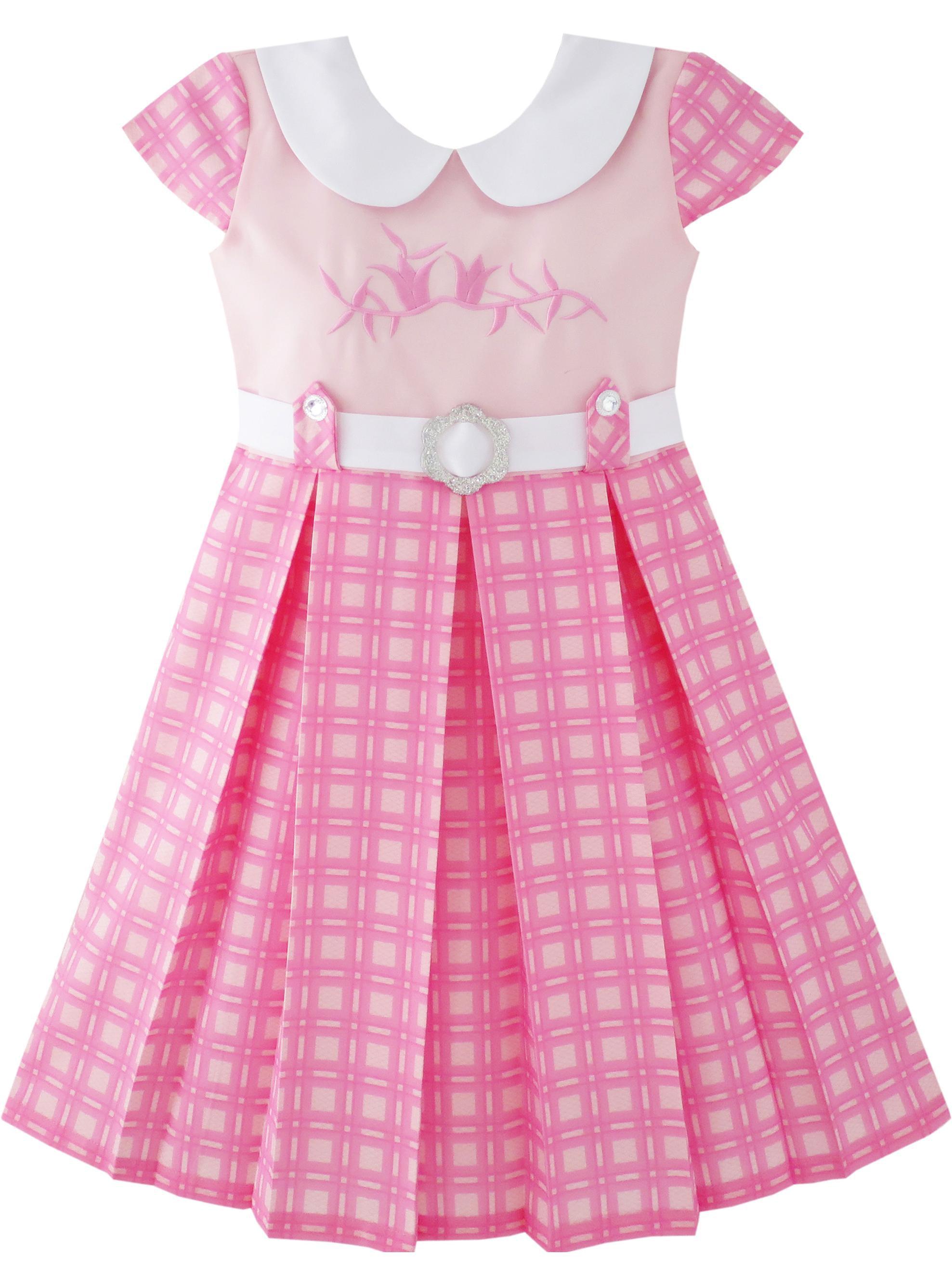 Girls Dress Pink Belted School Uniform Pleated Hem 4