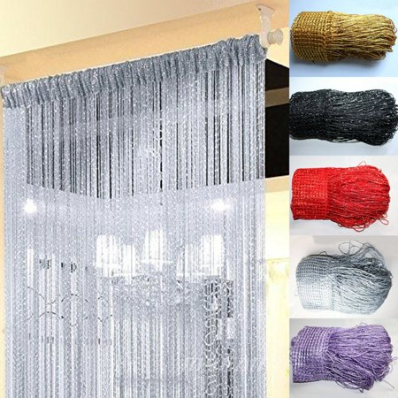 String Door Curtain Beads Window Panel Room Divider Crystal Tassel Fringe Beaded ()