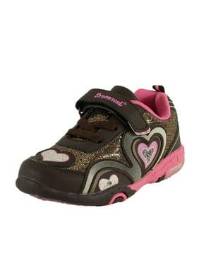 Dream Seek Girls Toddler 1346 Athletic Casual Velcro Strap Light Up Fashion Sneaker (8 M US Toddler, Purple)