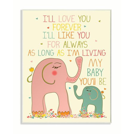 The Kids Room by Stupell Elephants Art, I'll Love You Forever Oversized Wall Plaque Art, 12.5 x 0.5 x (Elephant Plaque)