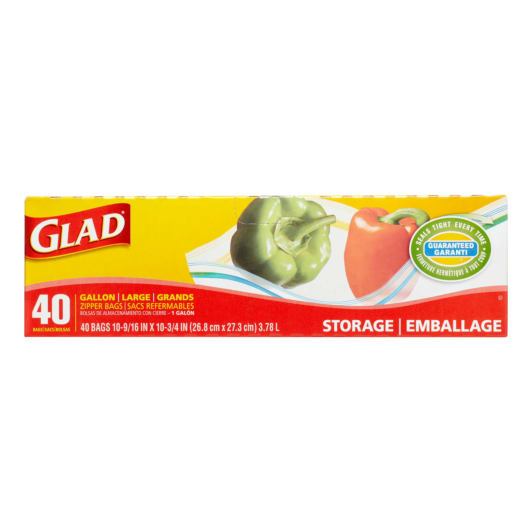 Glad Zipper Storage Bags, Gallon, 40 Ct