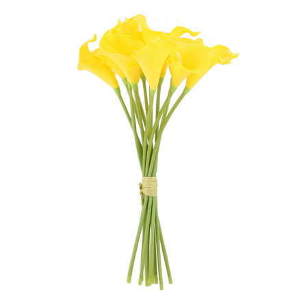 Wedding Decor Gift Calla Lily Artificial Manmade Flowers Bouquet Yellow 12 Pcs