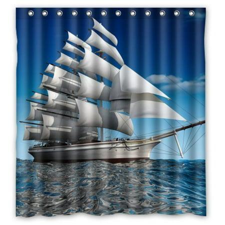 HelloDecor Ship Shower Curtain Polyester Fabric Bathroom Decorative Curtain Size 66x72 Inches ()