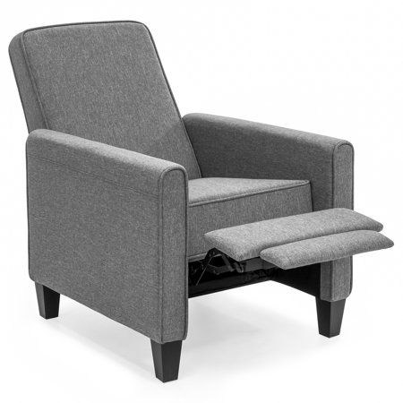 Best Choice Products Modern Sleek Upholstered Fabric Padded Executive Recliner Club Chair w/ Leg Rest, Sturdy Frame - Slate