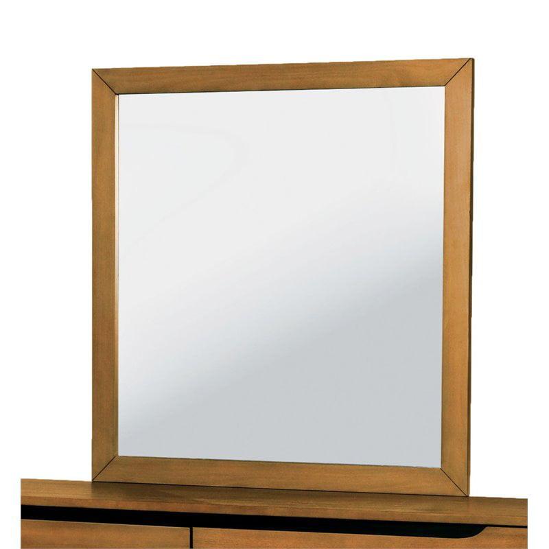 Furniture of America Zella Rectangular Mirror in Oak by Furniture of America