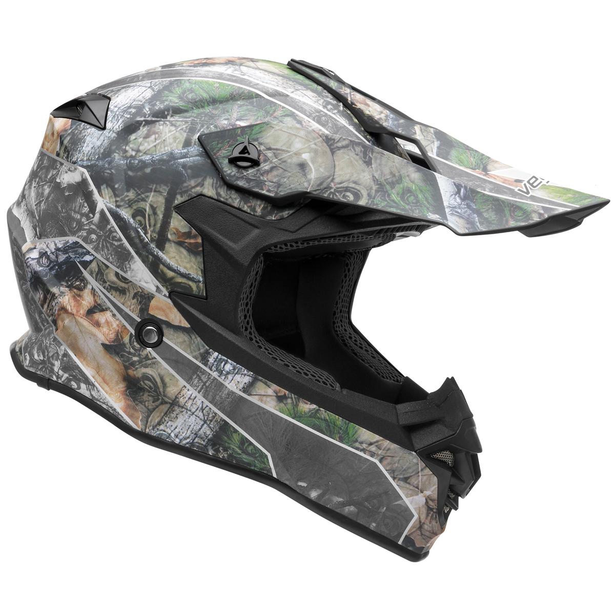 Vega V-Flow Skull Camo MX Offroad Helmet Green Camo MD