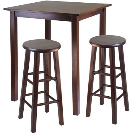 3-Piece Parkland High Dining Set with Essential Stools, Multiple Finishes ()