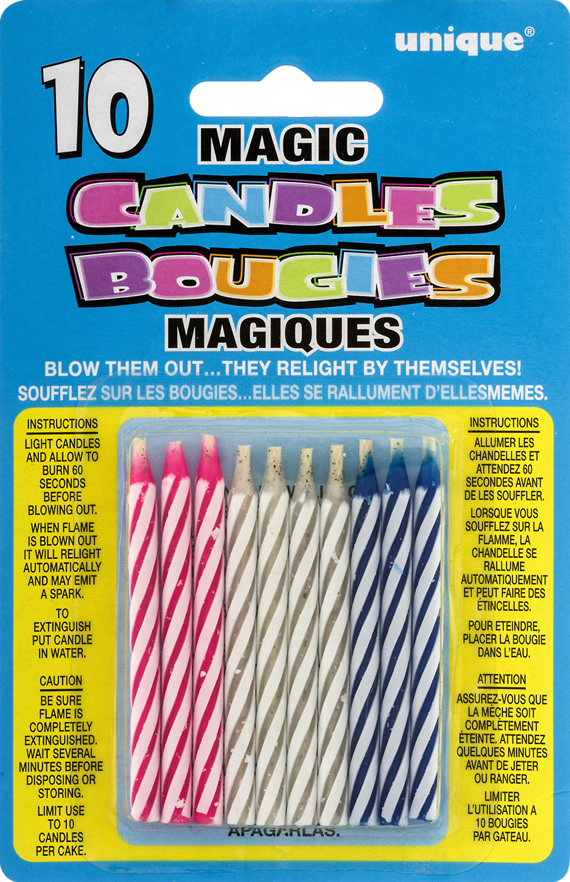 Magic Relighting Trick Birthday Candles Assorted 10ct