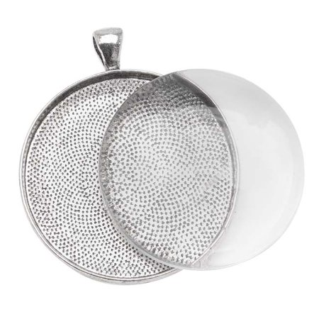 - Antiqued Silver Plated Round Bezel With Glass Round Cabochon 38mm - Pendant Set