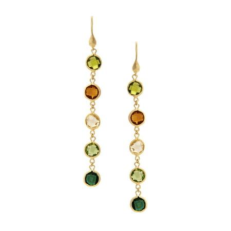 Gold Rock Crystal (18K Gold Clad Peridot Citrine Rock Crystal Kiwi Emerald Crystal Earrings)