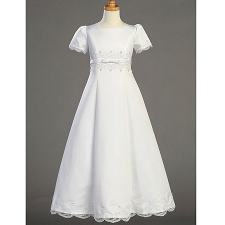 Lito Girls White Short Sleeve Embroidered First Communion Dress 18X