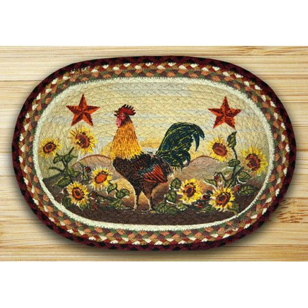 "MORNING ROOSTER 100% Natural Braided Jute Placemat, 13"" x 19"", by Earth Rugs"