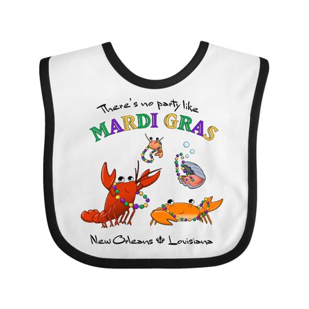 There's No Party Like Mardi Gras With Partying Seafood Baby Bib White/Black One Size - Seafood Bib