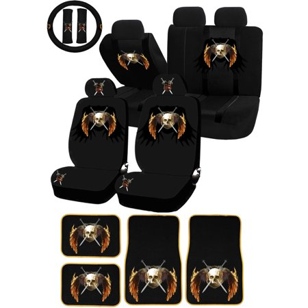 Excellent 22Pc Death Coat Of Rams Skull Knights Universal Seat Covers Carpet Floor Mats Set Car Truck Suv Dailytribune Chair Design For Home Dailytribuneorg