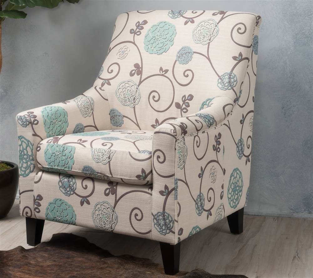 Floral Fabric Club Chair In White And Blue