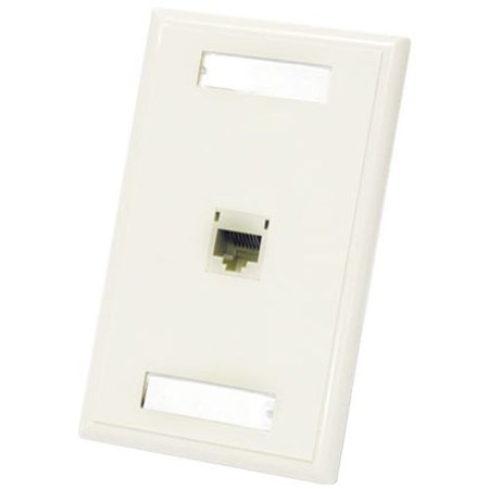 C2G 1-Port Cat5E RJ45 Configured Wall Plate -White - 1x Socket(s) -RJ-45 - White (Cat5e Rj 45 Wall Plate)