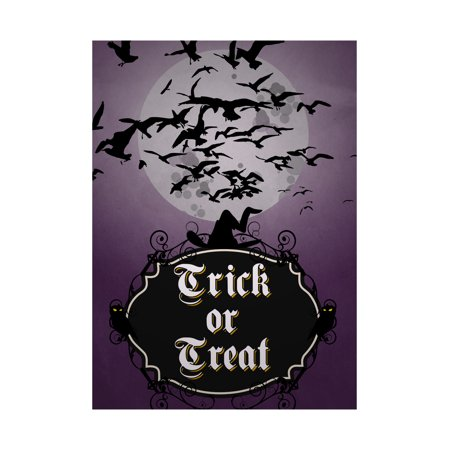 Trick Or Treat Print Purple Dark Night Moon Birds Flying Witches Hat Owls Scary Halloween Seasonal Decoration Sign  Al - Scary Witches