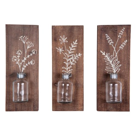 Foreside Home and Garden Fern Wall Vases, Set of 3