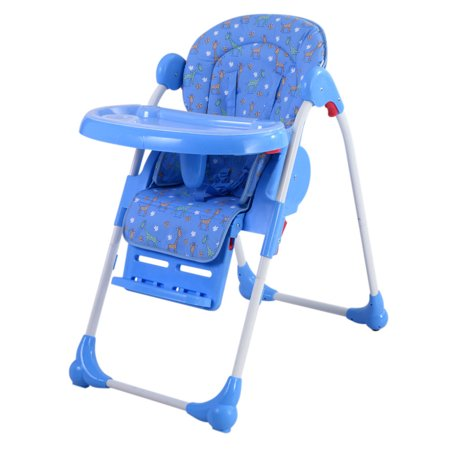 adjustable baby high chair infant toddler feeding booster seat folding blue. Black Bedroom Furniture Sets. Home Design Ideas