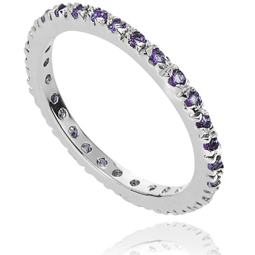 Alexandria Collection CZ February Birthstone Sterling Silver Eternity Band