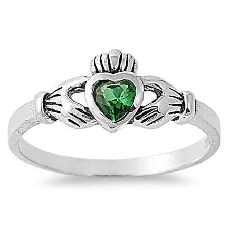 Emerald Claddagh Ring - Gift of the Claddagh Simulated Emerald Cubic Zirconia Ring Sterling Silver 925