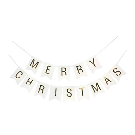MERRY CHRISTMAS Gold Letters on White Banner](Banner On The Cheap)