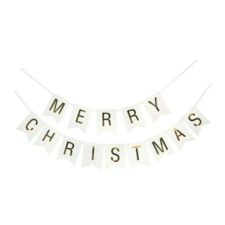 Christmas Banner - MERRY CHRISTMAS Gold Letters on White Banner