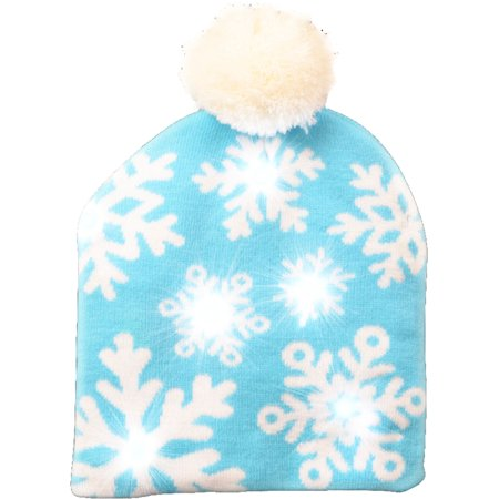 Christmas Winter Snowflake Light Up Beanie Hat Costume Accessory