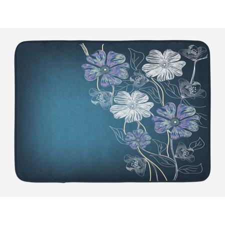 Art Bath Mat, Hand Drawn Cherry Blossoms Fantasy Bridal Garden Anniversary Theme, Non-Slip Plush Mat Bathroom Kitchen Laundry Room Decor, 29.5 X 17.5 Inches, Petrol Blue Lavander White, Ambesonne