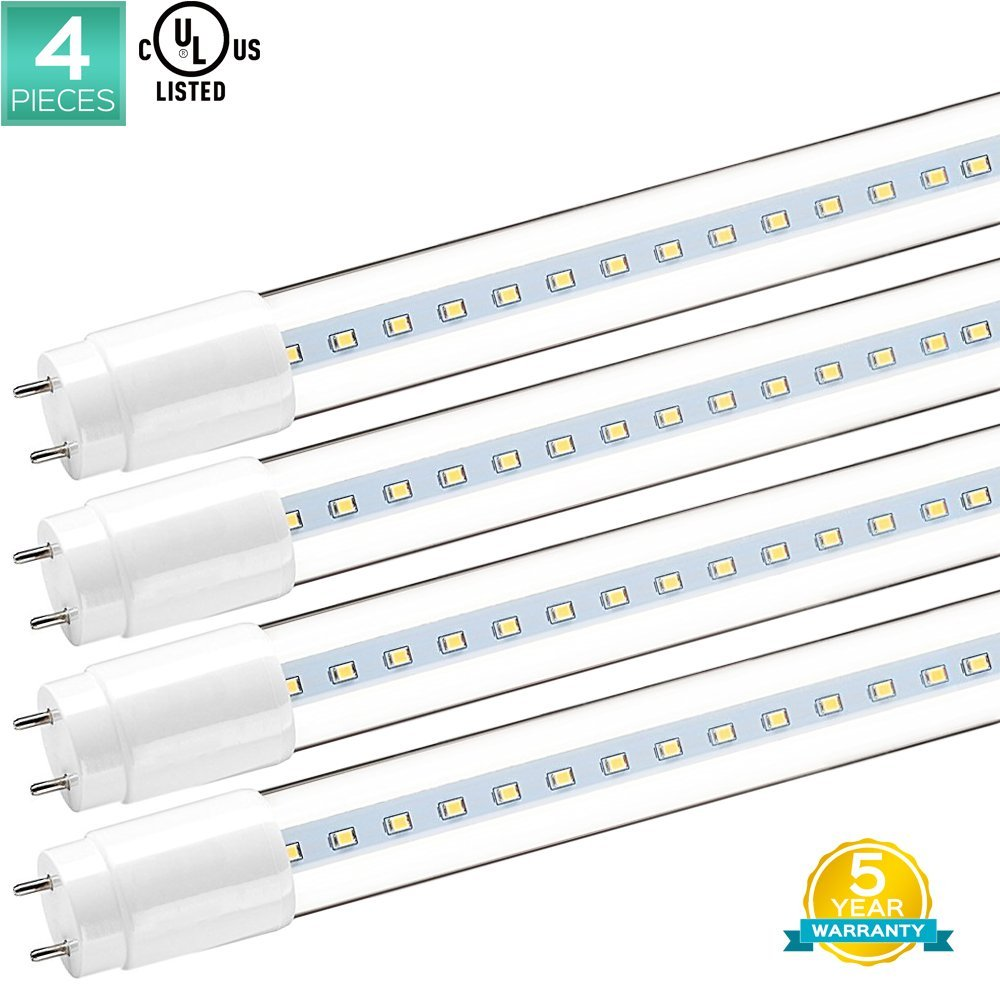 4-Pack Luxrite 4FT T8 LED Tube Light, 18W (32W Equivalent), 3000K Soft White, 1900 Lumens, Direct Replacement, UL Listed, Clear Cover, G13 LED Base