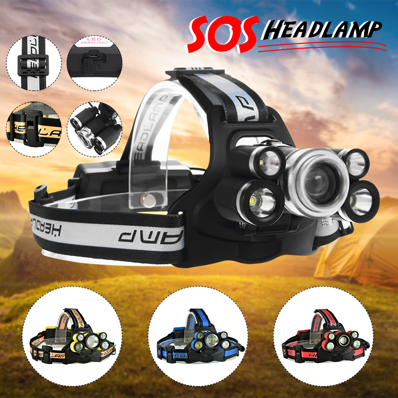 6500 Lumens T6 5 LED USB Rechargeable Headlight Headlamp Head Torch 5 Modes with SOS Help Whistle For Camping Fishing Hining (Not Included Battery)