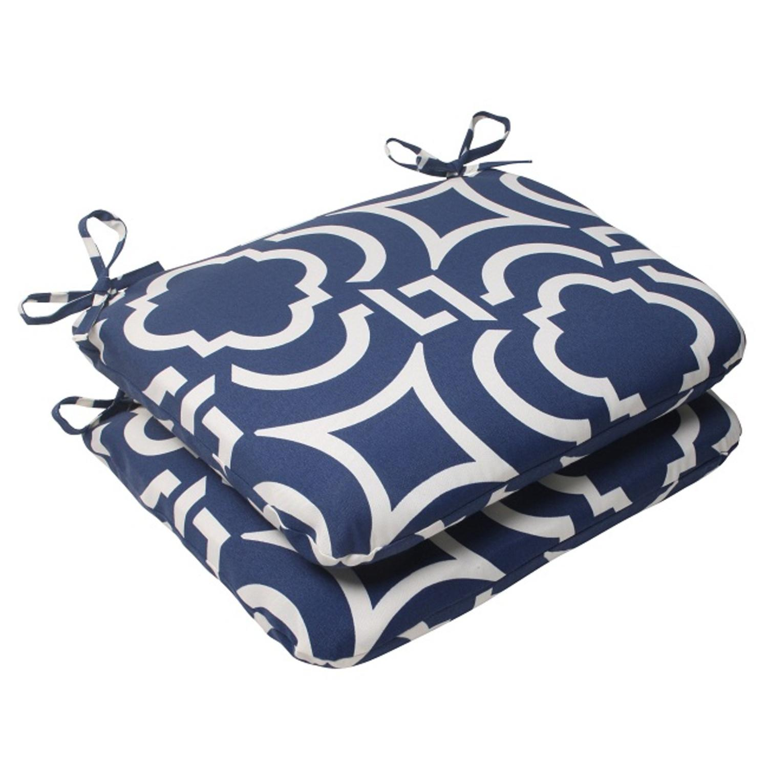 Set of 2 Geometric Navy Blue Sky Outdoor Rounded Patio Seat Cushions 18.5""