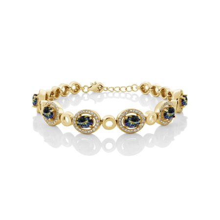 6.72 Ct Oval Blue Mystic Topaz 18K Yellow Gold Plated Silver Bracelet 18k Yellow Gold Bracelet