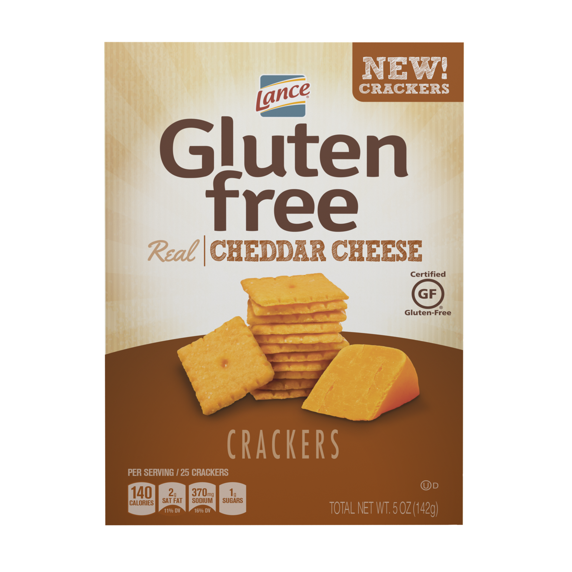 (2 Pack) Lance Gluten Free Cheddar Cheese Crackers, 5 Oz