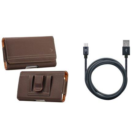 Bemz Accessory Bundle for Samsung Galaxy J3 J337 (J3 V 3rd Gen, Star, Orbit, Achieve) - PU Leather Belt Holster Card Slot Carry Case (Brown) with Heavy Duty Nylon Braided