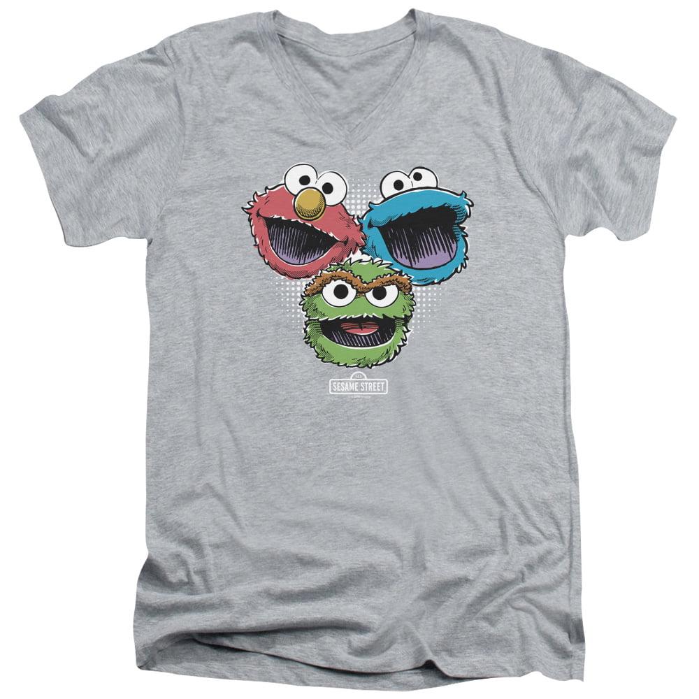 Sesame Street TV Show Cartoon Elmo Cookie Monster Oscar Adult V-Neck T-Shirt Tee