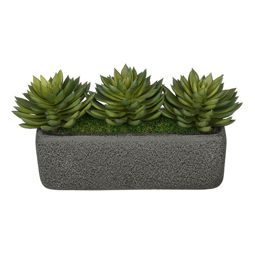 House of Silk Flowers Inc. Artificial Pointed Desktop Echeveria Plant in Decorative Vase