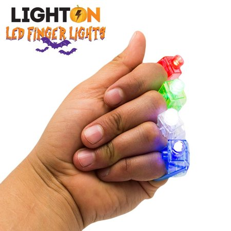 LED Finger Lights by Light On - Rave Gear Accessories Perfect for Halloween Rave Parties Pack of 100