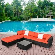 Kinbor 7pcs Outdoor Patio Furniture Sectional Pe Wicker Rattan Sofa Set 2 Ottoman Orange