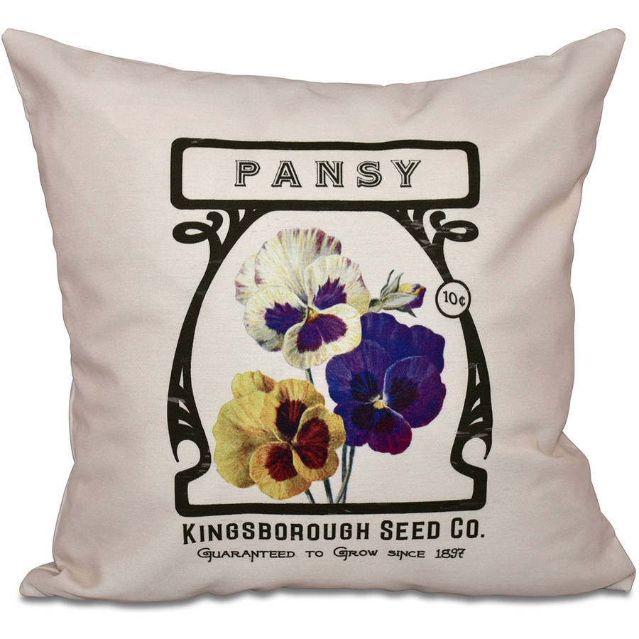"Simply Daisy 16"" x 16"" Pansy Floral Outdoor Pillow"