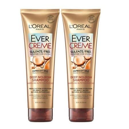LOreal Paris EverCreme Deep Nourish Shampoo, Triple Action Hyrdration, 8.5 FL OZ, 2 Pack