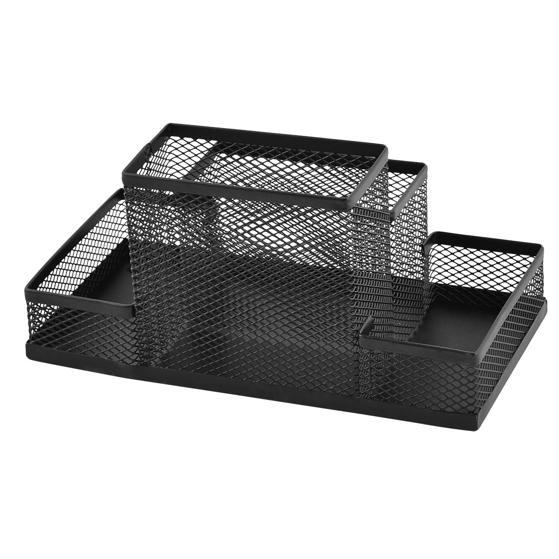 Metal Mesh 4 Compartments Desk Supplies Pen Storage Box Holder Organizer Black - image 2 of 4