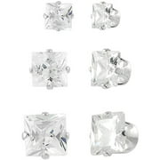 Brinley Co. Princess-Cut CZ Sterling Silver Stud Earrings Set, 3 Pairs