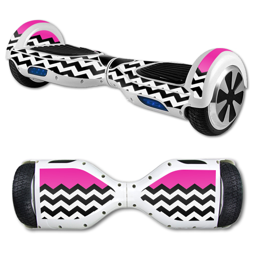 MightySkins Protective Vinyl Skin Decal for Hover Board Self Balancing Scooter mini 2 wheel x1 razor wrap cover sticker Hot Pink Chevron