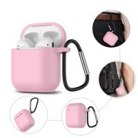 AirPods Silicone Case, AirPods Case with Keychain, Njjex Shockproof Protective Premium Silicone Cover Skin for Apple Airpods 1st -Pink